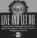GN'R Live And Let Die Uk Promo Cardboard